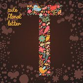 The letter T. Bright floral element of colorful alphabet made from birds, flowers, petals, hearts an