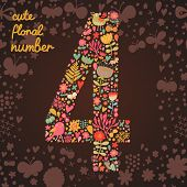The number 4. Bright floral element of colorful alphabet made from birds, flowers, petals, hearts an