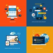 stock photo of chart  - Set of flat design concept icons for web and mobile services and apps - JPG