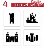 foto of castle  - Vector black castle icons set on white background - JPG
