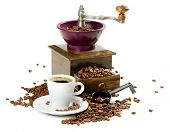 Coffee And Old-fashioned Coffee Grinder