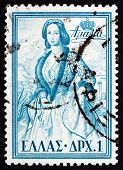Postage Stamp Greece 1956 Queen Amalia Of Greece