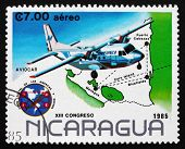 Postage Stamp Nicaragua 1985 Aviocar Mail Plane Over Map