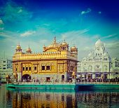 pic of gurudwara  - Vintage retro hipster style travel image of famous India attraction Sikh gurdwara Golden Temple  - JPG