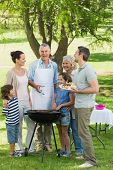 Portrait of an extended family standing at barbecue in the park
