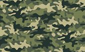 image of camo  - Vector illustration of green khaki camouflage pattern - JPG
