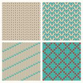 stock photo of knitwear  - Seamless Knitting Patterns Set - JPG
