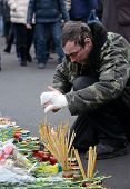 KIEV, UKRAINE - February 24, 2014: Ukrainian revolution, Euromaidan. Days of national mourning for t