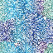 Seamless Floral Vintage Blue Gradient Doodle Pattern
