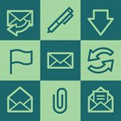 Email web icons, green square buttons set
