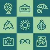 Travel web icon set 5, green square buttons set