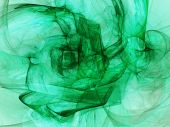 Digitally Rendered Abstract Green With Black Fractal Energy.