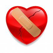 image of heartbreak  - Shiny red cracked heart  with plaster on white background - JPG
