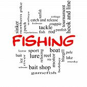image of fishing bobber  - Fishing Word Cloud Concept in red caps with great terms such as bobber lure pole and more - JPG