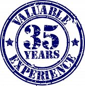 Valuable 35 years of experience rubber stamp, vector illustration