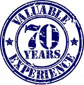 Valuable 70 years of experience rubber stamp, vector illustration