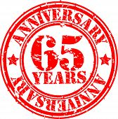 Grunge 65 years anniversary rubber stamp, vector illustration
