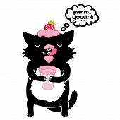black cat with yogurt. cute cartoon animal
