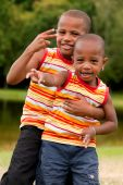African Children Ginving Peace Sign