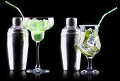 pic of mojito  - alcohol cocktail set with tasty summer fruits - JPG