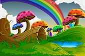stock photo of fairy-mushroom  - easy to edit vector illustration of scenic beauty of fairy tale with colorful mushroom - JPG