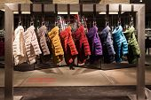 Colorful Coats On Display At Mipap Trade Show In Milan, Italy