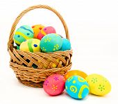 image of egg whites  - Colorful easter eggs in the basket isolated on a white background - JPG