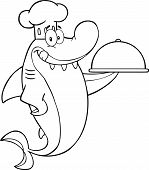 Black And White Chef Shark Cartoon Character Holding A Platter