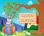 Image with Easter bunny and sign 7 - eps10 vector illustration.