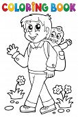 Coloring book father with child 1 - eps10 vector illustration.