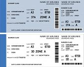 image of barcode  - Vector image of airline boarding pass tickets with barcode - JPG