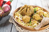 Indonesian meatball  noodles or mee bakso, popular Indonesian street food. Fresh hot with steam smok
