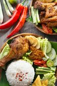 foto of ayam  - Popular Indonesian local food nasi ayam penyet - JPG