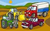 pic of truck farm  - Cartoon Illustration of Funny Vehicles and Machines or Trucks Cars Comic Characters Group - JPG