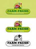 Farm Fresh Product Label with Farmhouse Vector Illustration. Shaded, flat design and black and white