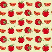 Tomatoes seamless vector background. Seamless wallpaper background with tomatoes and pieces.