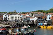 SCARBOROUGH, NORTH YORKSHIRE, ENGLAND - 17th of May 2014: Scarborough South Bay harbor on the 17th o