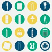 pic of monochromatic  - Monochromatic circular icons of several office supplies as scissors - JPG