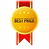 golden medal with red ribbon and best price text