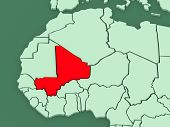 Map of worlds. Mali. 3d