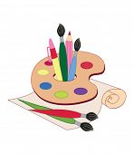 Palette with brushes and paints. Back To School. Vector Illustrations