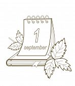 Calendar and autumn leaves. Back To School. Vector Illustrations