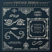 Calligraphic design elements vintage ornament set. Vector frame decor