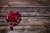 Christmas Decoration: Red Balls On Old Wooden Rustic Background.