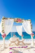 image of cabana  - beach wedding set up - JPG