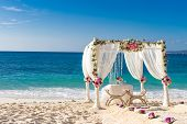 stock photo of cabana  - beach wedding set up - JPG