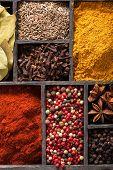 spices in box. pink black pepper paprika powder curry bay leaf anise clove cumin