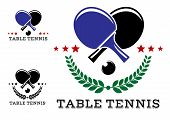 Set of table tennis emblems