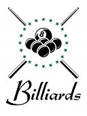 Billiards and snooker sports emblem