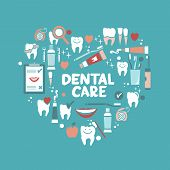Dental care symbols in the shape of heart.